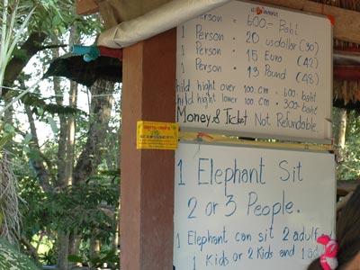 Daftar tarif naik gajah di Elephant Village